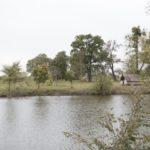 Derewnia (ukr. Деревня). Jeden z podworskich stawów. W tle pozostałości dawnego ogrodu zachowane w postaci skupiska drzew lipy i dębu.