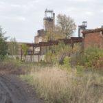 Parchacz (ukr. Межиріччя). Zabudowania kopalni na terenie dawnego założenia dworskiego.
